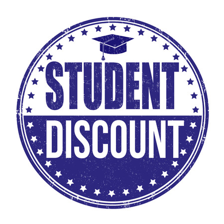 Student discount grunge rubber stamp on white background