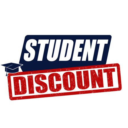 discount: Student discount grunge rubber stamp on white background