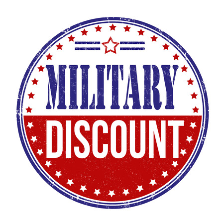 Military discount grunge rubber stamp on white background Vectores