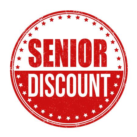 Senior discount grunge rubber stamp on white background Illustration