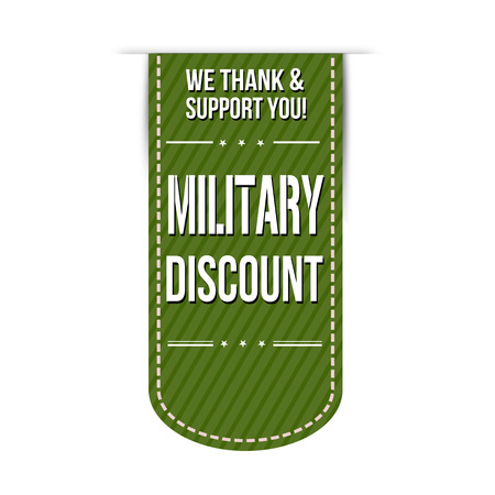 recommendations: Military discount banner design over a white background