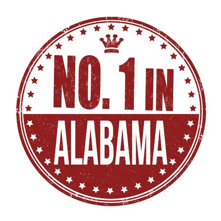 alabama: Number one in Alabama grunge rubber stamp on white background