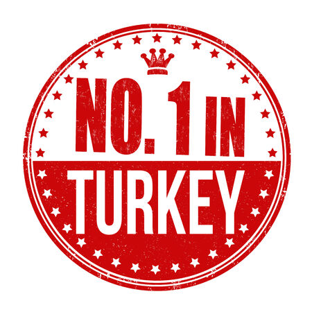 Number one in Turkey grunge rubber stamp on white background Vector