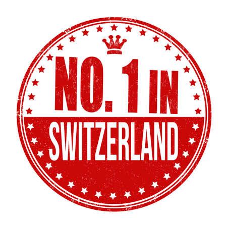 no icon: Number one in Switzerland grunge rubber stamp on white background