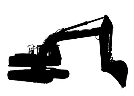 Silhouette of the excavator on white background, illustration