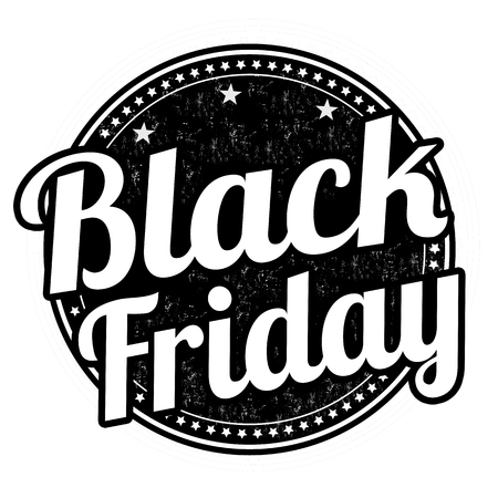Black friday grunge rubber stamp on white, illustration Vector
