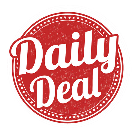 Daily deal grunge rubber stamp on white background,
