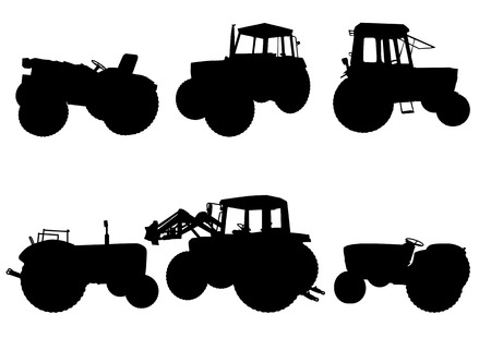 plough machine: Set of tractor silhouettes on white background, illustration Illustration