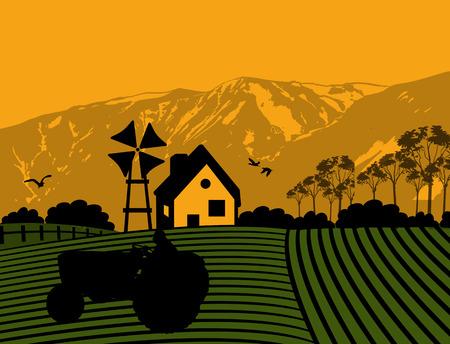 tillage: Trattore agricoltura coltivare la terra sul paesaggio fattoria, illustrazione