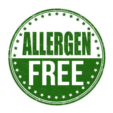 Allergen free grunge rubber stamp on white background, illustration