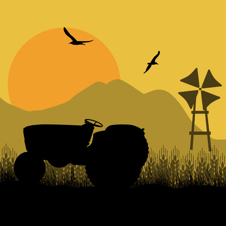 wind farm: Silhouette of a farm tractor and windmill on cultivated wheat fields landscape, vector illustration