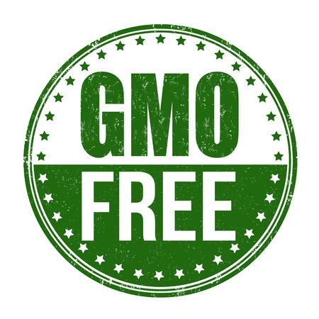 Gmo free grunge rubber stamp on white background, illustration