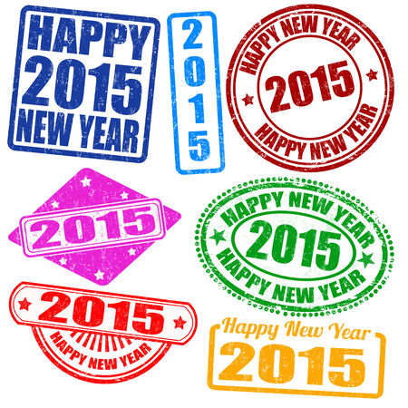 Set of 2015 new year grunge stamps Vector