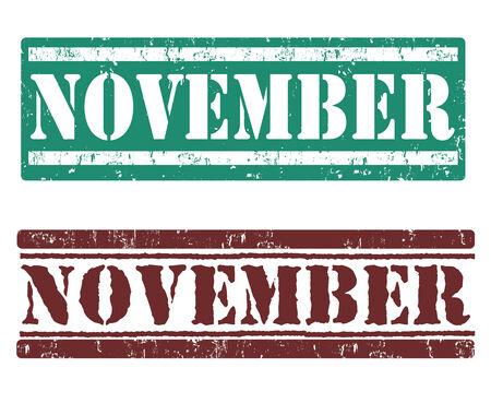 weekday: November grunge rubber stamps on white background, illustration