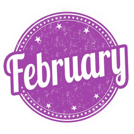 February grunge rubber stamp on white background, illustration