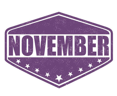 weekday: November grunge rubber stamp on white background, illustration Illustration