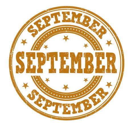 weekday: September grunge rubber stamp on white background, illustration