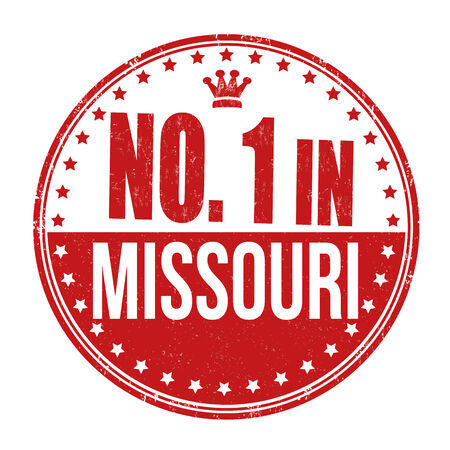 certificated: Number one in Missouri grunge rubber stamp on white background, illustration