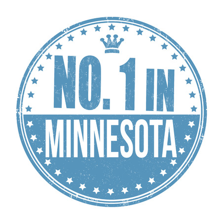 Number one in Minnesota grunge rubber stamp on white background, illustration Vector