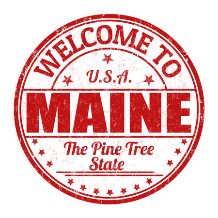 Welcome to Maine grunge rubber stamp on white background, illustration Illustration