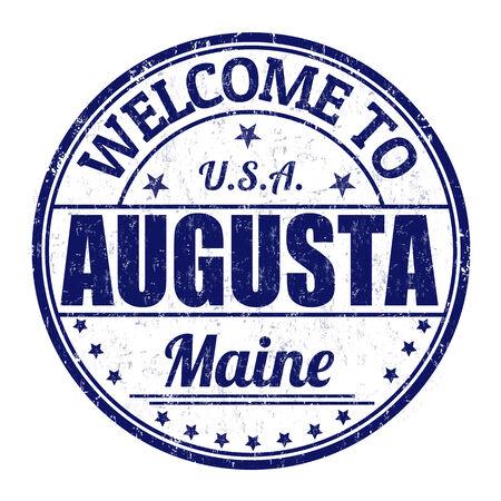 augusta: Bienvenido a Augusta grunge sello de goma en el fondo blanco, ilustraci�n