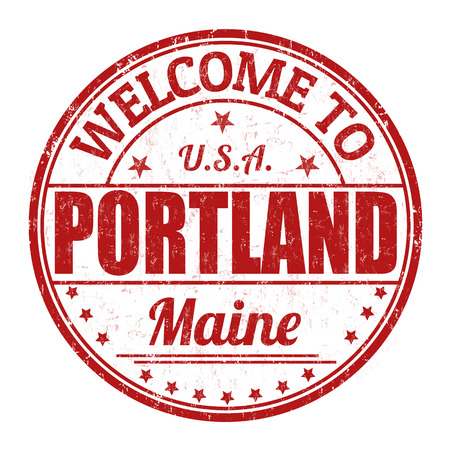 visit us: Welcome to Portland grunge rubber stamp on white background, illustration