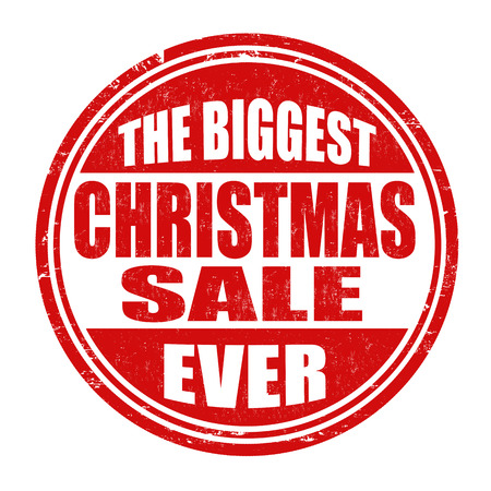biggest: The biggest Christmas sale ever grunge rubber stamp on white