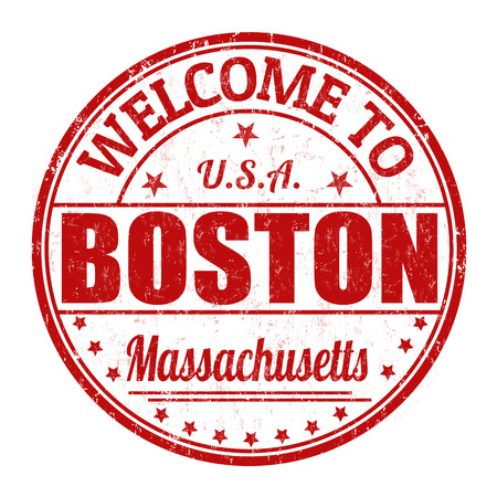 visit us: Welcome to Boston grunge rubber stamp on white