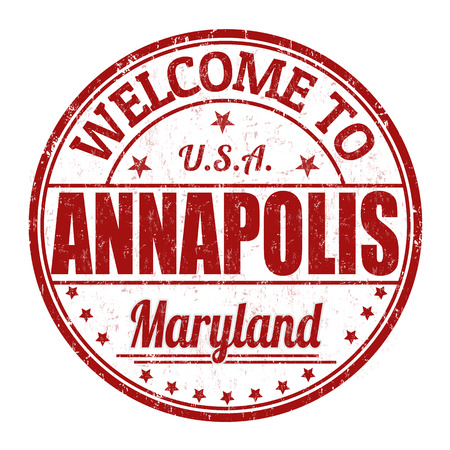 visit us: Welcome to Annapolis grunge rubber stamp on white  Illustration