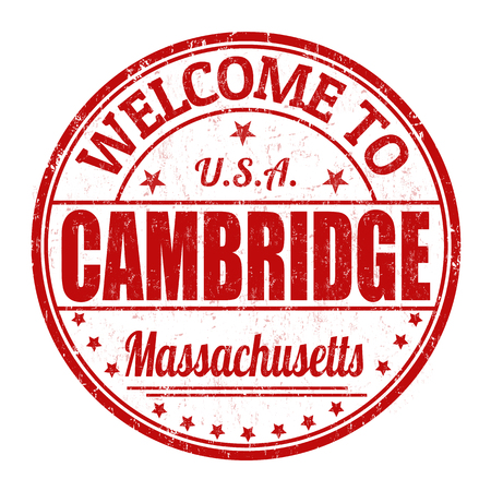 visit us: Welcome to Cambridge grunge rubber stamp on white