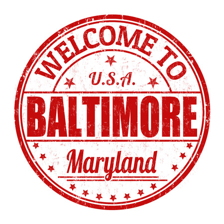 visit us: Welcome to Baltimore grunge rubber stamp on white  Illustration
