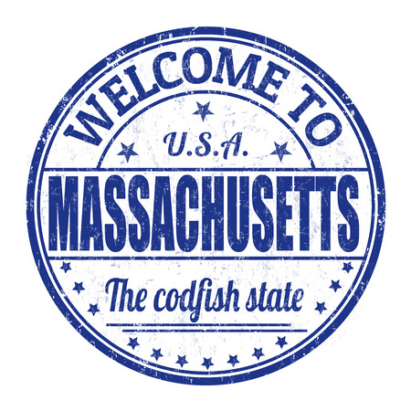 codfish: Welcome to Massachusetts grunge rubber stamp on white background, vector illustration