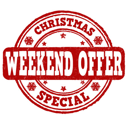 sale tags: Christmas weekend offer grunge rubber stamp on white background, vector illustration Illustration