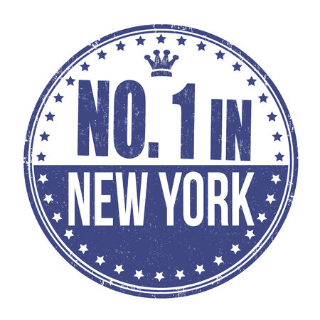 certificated: Number one in New York grunge rubber stamp on white background, vector illustration