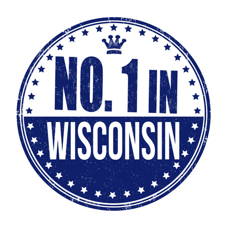 wisconsin: Number one in Wisconsin grunge rubber stamp on white background, vector illustration Illustration