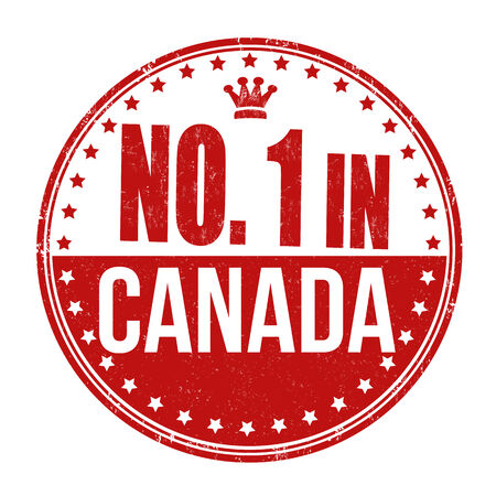 Number one in Canada grunge rubber stamp on white background, vector illustration Vector