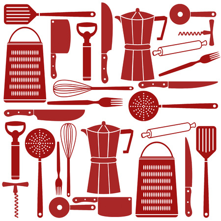 whisk: Seamless pattern of kitchen tools, vector illustration