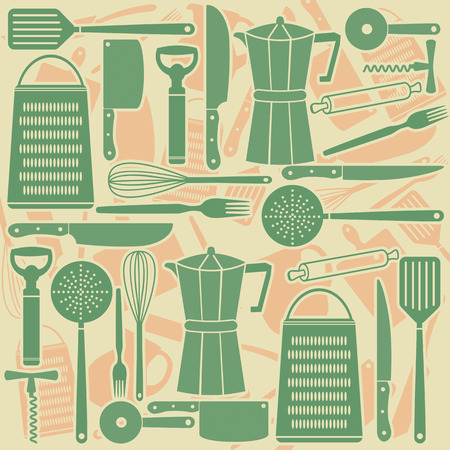 Seamless pattern of kitchen tools, vector illustration Vector