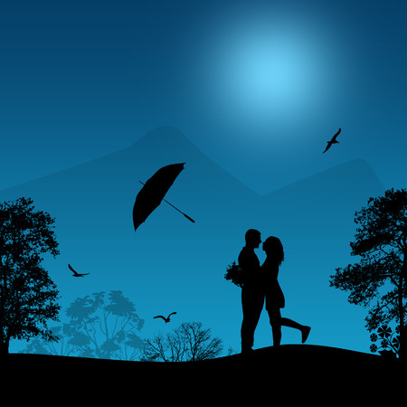 romantic sexy couple: Embraced lovers in a park on beautiful blue sunset, vector illustration