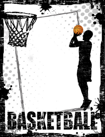 players: Dirty basketball poster background, vector illustration