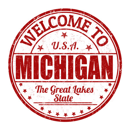 visit us: Welcome to Michigan grunge rubber stamp on white background, vector illustration Illustration
