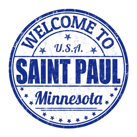 paul: Welcome to Saint Paul grunge rubber stamp on white background, vector illustration