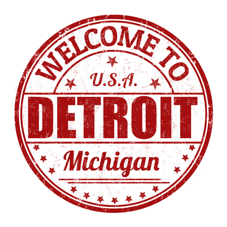 Welcome to Detroit grunge rubber stamp on white background, vector illustration Vector