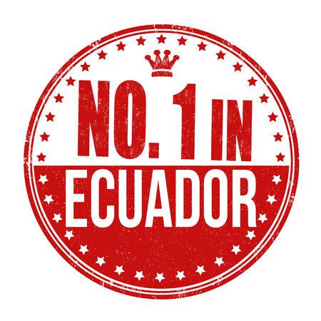 ecuador: Number one in Ecuador grunge rubber stamp on white background, vector illustration Illustration