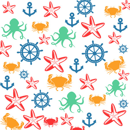 Sea life seamless pattern on white background in square format suitable for wallpaper and fabric, vector illustration Vector