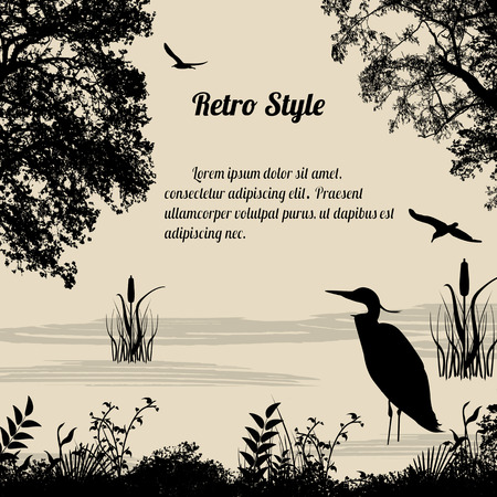 Heron silhouette on lake on retro style background, vector illustration Vettoriali