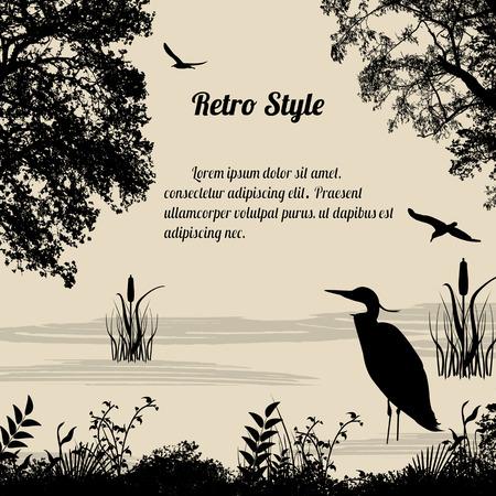 pajaro: Silueta de la garza en el lago en el fondo de estilo retro, ilustración vectorial
