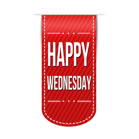 red ribbon week: Happy wednesday banner design over a white background, vector illustration