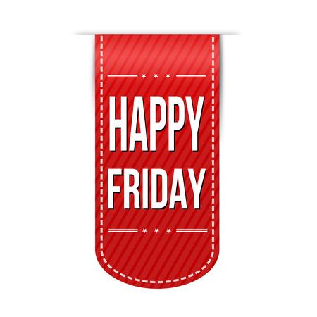 red ribbon week: Happy friday banner design over a white background, vector illustration Illustration
