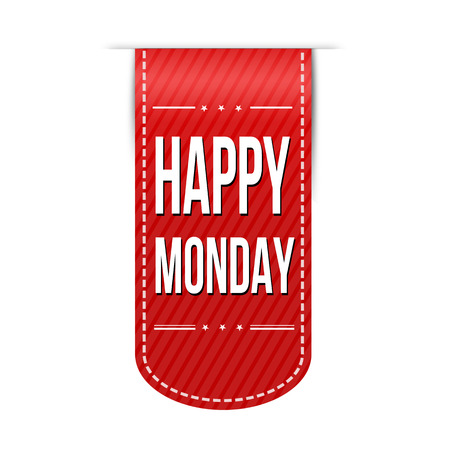 monday: Happy monday banner design over a white background, vector illustration Illustration